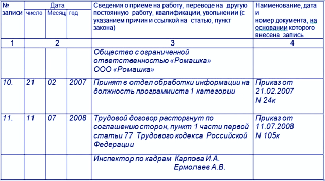 Образец исправления в трудовой книжке - ошибочная запись фамилии, даты и должности